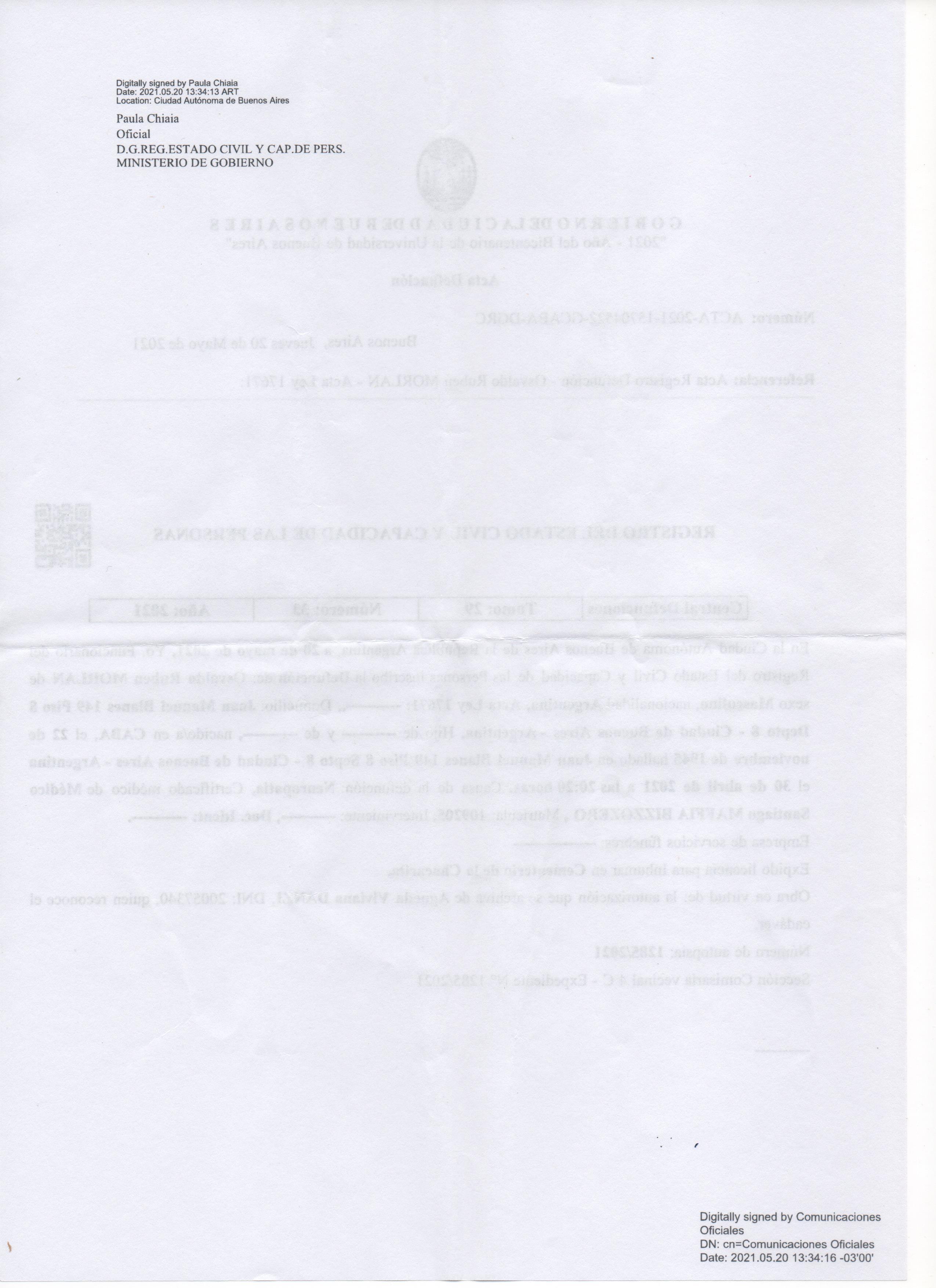 Certificado de defunción o presunción de fallecimiento.