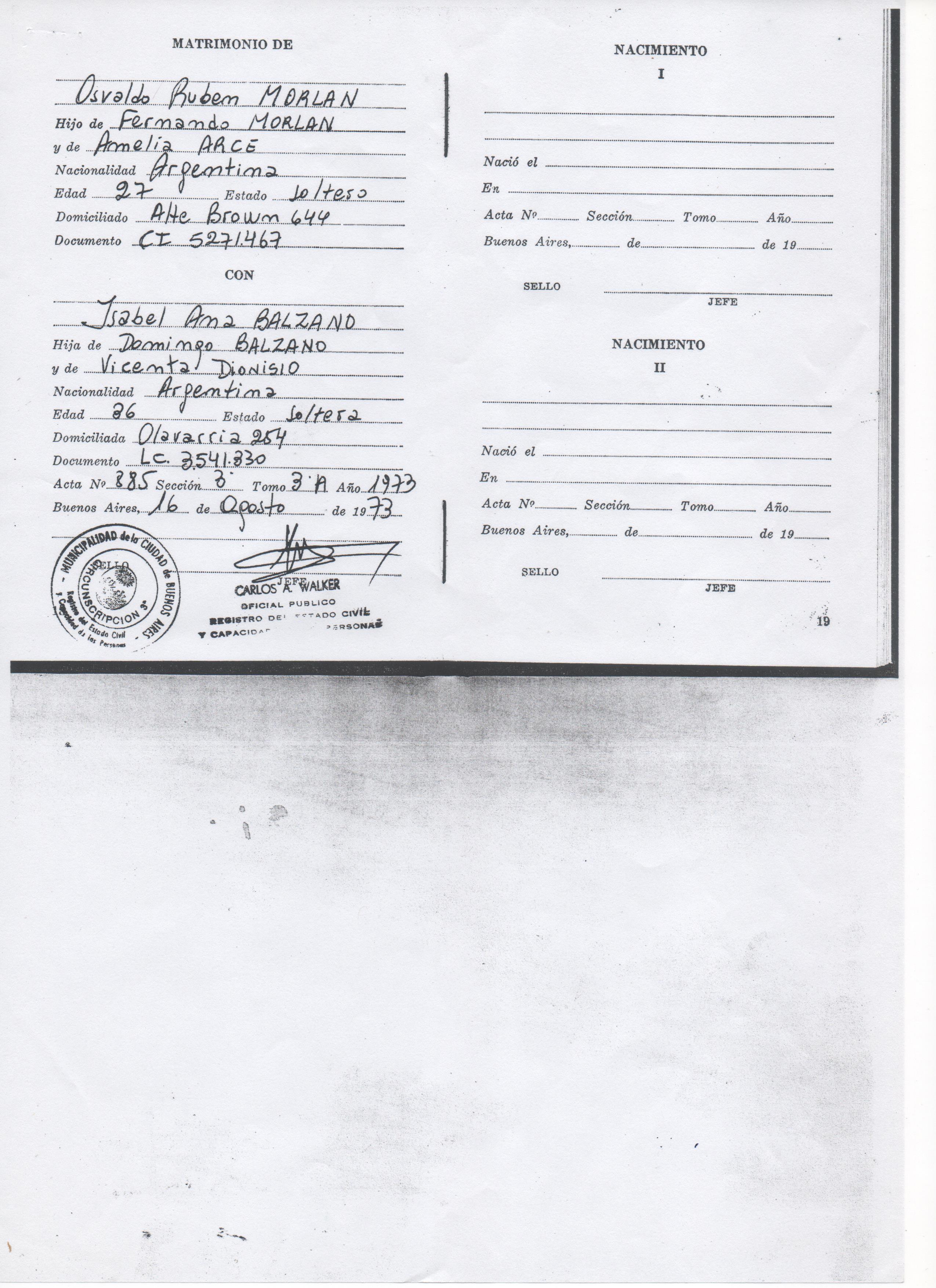Documentación que acredite parentesco entre el solicitante y la persona a cuyo nombre se solicita el certificado (por ejemplo, acta de nacimiento del solicitante, acta de matrimonio, resolución de convivencia, etc ), sólo cuando el pariente NO tiene el mismo apellido que la Persona a cuyo nombre se solicita el certificado.
