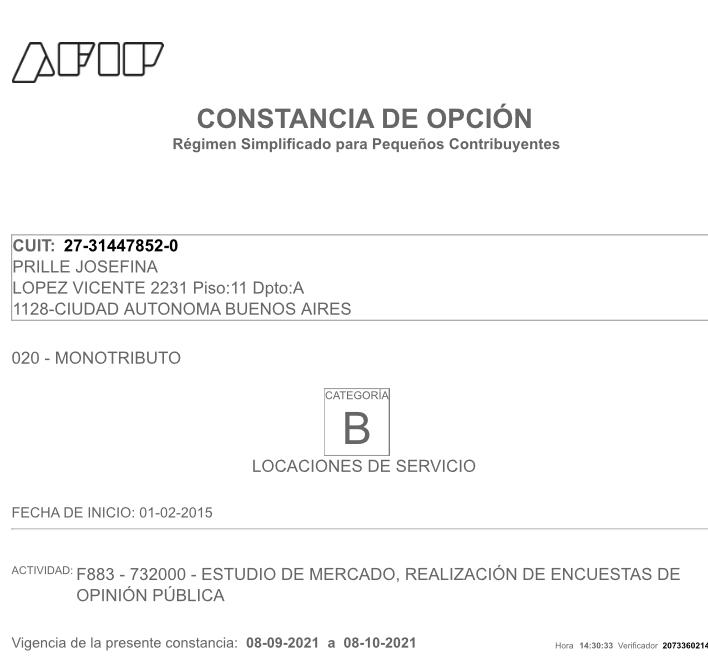 Constancia de inscripción en la AFIP